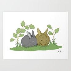Woodland Rabbits. Art Print