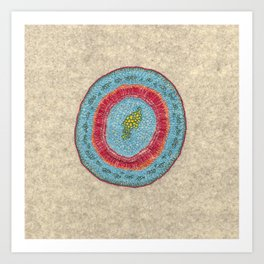 Growing - Hoya - plant cell embroidery Art Print