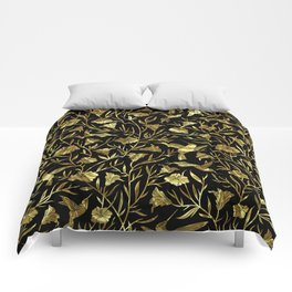 Black and gold foil humming birds & leafs pattern Comforters