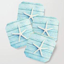 Starfish Beach Photography, Aqua Seashell Art, Coastal Nautical Photograph Coaster