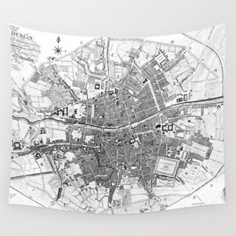 Vintage Map of Dublin Ireland (1797) BW Wall Tapestry