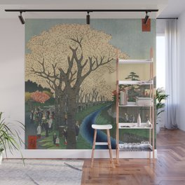 Spring Cherry Trees Blossoms Ukiyo-e Japanese Art Wall Mural