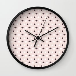 Deep purple and white stars on pale pink Wall Clock