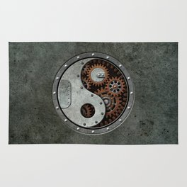 Industrial Steampunk Yin Yang with Gears Rug