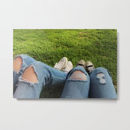 Jeans And Converse Metal Print