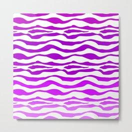 Violet Purple Zebra Stripe Metal Print