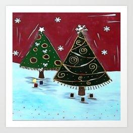 Childrens Primitive Christmas Tree Design Art Print