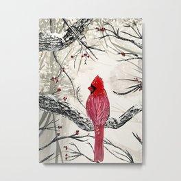 Red Robins Winter Metal Print