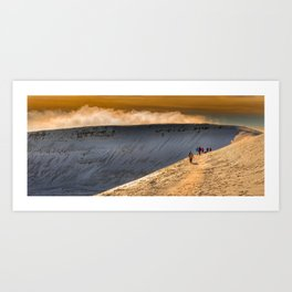 Winter walkers on Penyfan Art Print
