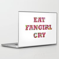 fangirl Laptop & iPad Skins featuring Eat Fangirl Cry by BeeJL