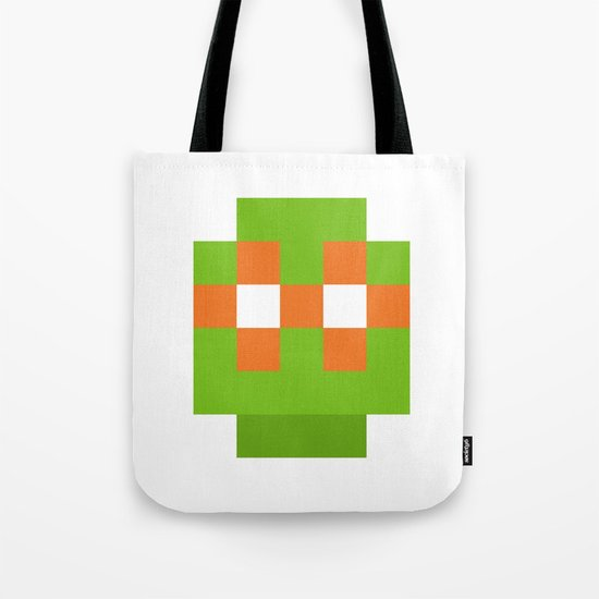 hero pixel green orange Tote Bag