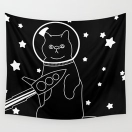 Space Cat - Black Wall Tapestry