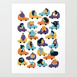 Little cars Art Print