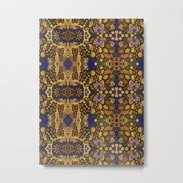 Indian Summer, Bohemian Arabesque Pattern, Golden Yellow Metal Print
