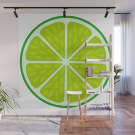 Green lime slice- citrus fruit cut section Wall Mural