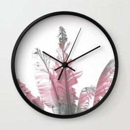Pink Banana Leaves Wall Clock