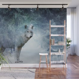 Magic Wolf and Snow Wall Mural