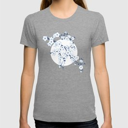 Navy Blue White Cherry Blossoms T-shirt