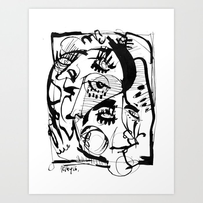 The Pretty People - b&w Art Print