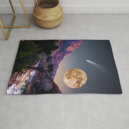 zion national park full moon and comet Rug
