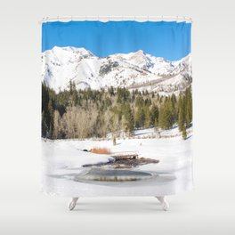 Adventure In The Snowy Mountains Shower Curtain