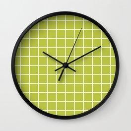Grid Pattern Chartreuse 2 Wall Clock