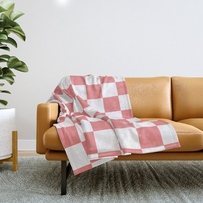 Checkered - White and Coral Pink Throw Blanket