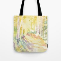 forrest Tote Bags featuring Forrest by Susie McColgan