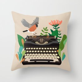 The bird and the typewriter Throw Pillow