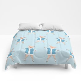 hello winter with cute piggy Comforters