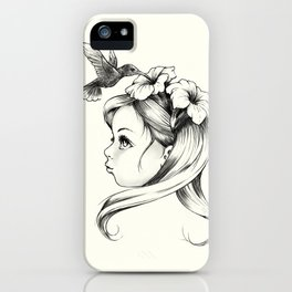 Petunia in a girl's hair, hummingbirds drink nectar of flowers, fairy tale nature iPhone Case