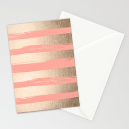 Painted Stripes Tahitian Gold on Coral Pink Stationery Cards