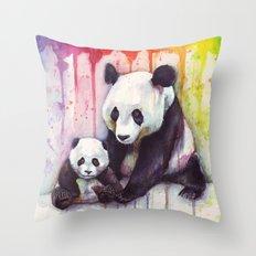 Pandas and Rainbow Watercolor Mom and Baby Panda Nursery Animals Throw Pillow