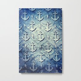 Denim anchors pattern, nautical rockabilly style. Metal Print