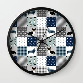 Tricolored Corgi Patchwork - classic buffalo plaid, plaid, dog dad, dog lover, dog design, cute dogs Wall Clock