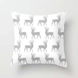 Mid Century Modern Deer Pattern Gray 3 Throw Pillow