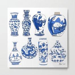 Blue Vases Metal Print