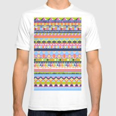 Summer Doodle MEDIUM White Mens Fitted Tee