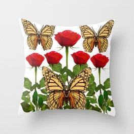 RED ROSES  & MONARCH BUTTERFLIES ART Throw Pillow