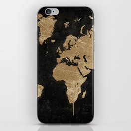 Gold World Map iPhone Skin