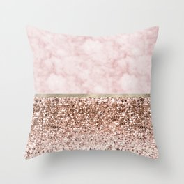 Warm chromatic - pink marble Throw Pillow