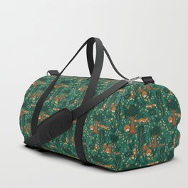 Foxes Playing in the Emerald Forest Duffle Bag