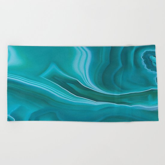 Agate sea green texture Beach Towel