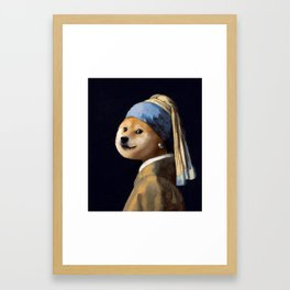 Doge with a Pearl Earring Framed Art Print