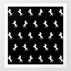 Black And White Unicorns Art Print
