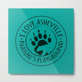 I Love Asheville - Black Bear - AVL 15 Green Metal Print