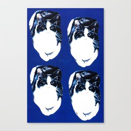 Black and white cat pattern on blue Canvas Print