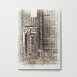 NYC Yellow Cabs NYPD - SKETCH Metal Print