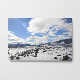 Moon Landscape at Andes Mountain Border Crossing Metal Print