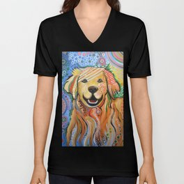 Max ... Abstract dog art, Golden Retriever, Original animal painting Unisex V-Neck